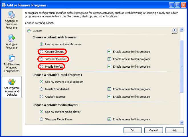 Windows XP - Alege browser de pornire