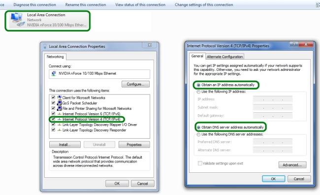 Setare IP dynamic in Windows 7 sau Vista