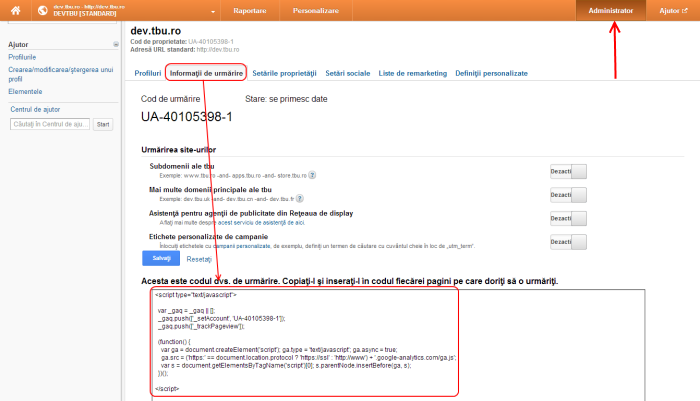 Instalare cod Google Analytics