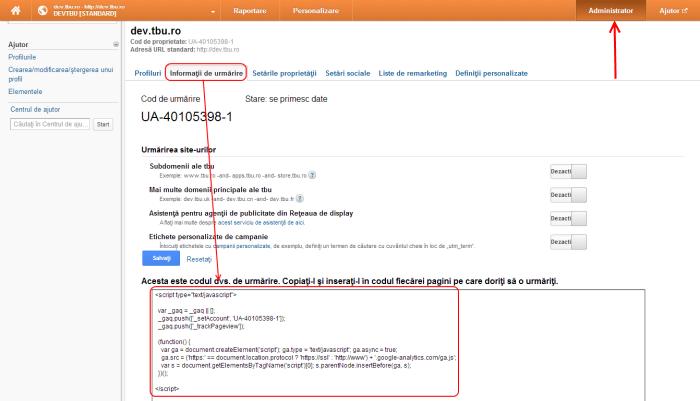 Instalare cod Google Analytics
