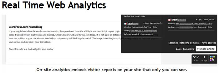 Clicky Analytics On-site