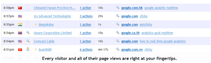 Clicky Analytics Log Vizitatori