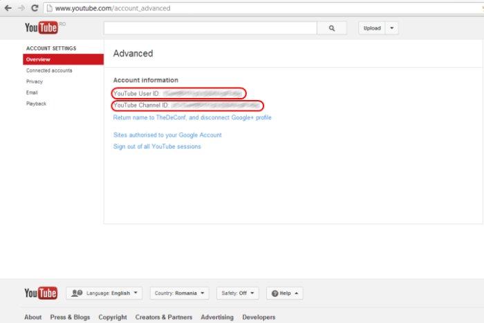 YouTube CHANNEL ID sau USER ID